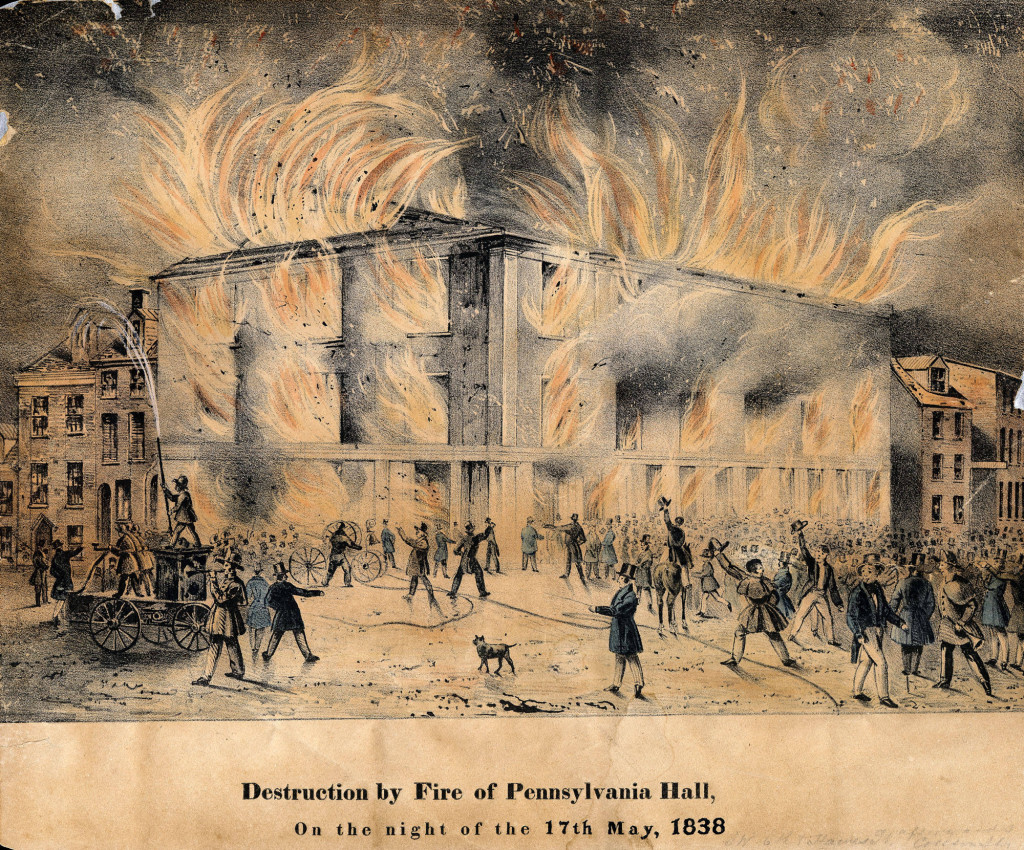 Constructed from 1837 to 1838 as a meeting place for local abolitionist groups, Pennsylvania Hall in Philadelphia was set on fire and destroyed by an anti-abolitionist mob just three days after dedication ceremonies on May 14, 1838.