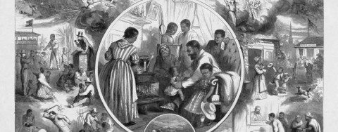 "Drawn for publication in  Harper's Weekly , ""The Emancipation of the Negroes"" pictures Columbia (the female representation of America) presiding over a scene imagining the difference that Lincoln's Emancipation Proclamation would have on slavery and former slaves in the South. The original 1863 illustration features an abstract image of heavenly intervention breaking a slave's chains, whereas the 1865 lithograph (see ""Emancipation"" by Thomas Nast, 1865) includes a portrait of Lincoln within the small circled inset. The inclusion of Lincoln's visage highlights his ascension from sometimes-maligned president into a national martyr and revered Great Emancipator, and also begs the question of who (in the public imagination) freed the slaves."