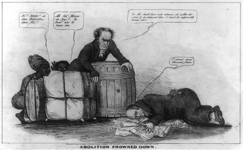 "This political cartoon satirizes the enforcement of the ""gag-rule"" in the House of Representatives, which prohibited discussion of the question of slavery during much of the antebellum era. In the 1830s, growing antislavery sentiments of northern representatives clashed with resentful southern congressmen who saw the discussion of slavery as meddlesome and insulting to their constituencies. This print may relate to John Quincy Adams's opposition to passage of the resolution in 1838, or (more likely) to his continued frustration in attempting to force the slavery issue to debate through the presentation of northern constituents' petitions in 1839. In December 1839 a new ""gag rule"" was passed by the House forbidding debate, reading, printing of, or even reference to any petition on the subject of abolition."