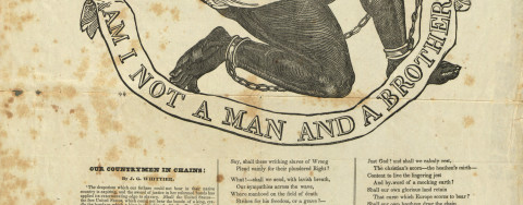 "This broadside publication of John Greenleaf Whittier's poem ""Our Countrymen in Chains"" includes the illustration ""Am I Not a Man and a Brother?,"" originally adopted as the seal of the Society for the Abolition of Slavery in England in the 1780s. The image of the supplicant male slave in chains was a popular and effective propaganda tool for anti-slavery activists who distributed the design in multiple forms, most especially in medallions made by the famed ceramics maker Josiah Wedgwood (see Anti-Slavery Medallion, by Josiah Wedgwood, 1787). Here, in addition to Whittier's poem, the appeal to conscience against slavery continues with two further quotes, the first a the scriptural warning from Exodus and the second a staggering statistical claim about slavery in England and America. Copies of this broadside were sold at the New York Anti-Slavery Office and by mail through abolitionist newspapers, making their reach wide-ranging."