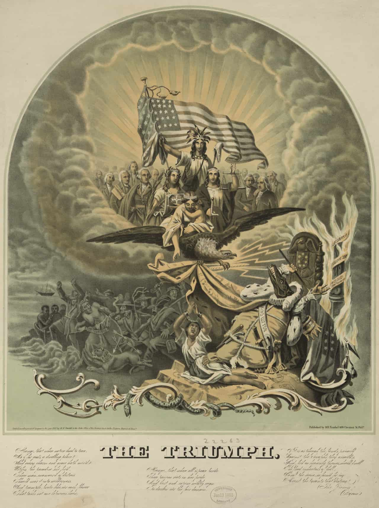 """This large, detailed allegory predicts the triumph of the Union over the dark forces of the Confederacy and """"King Cotton."""" The accompanying key, seen below the image, describes the secession of the South in intensely moralistic terms, as the machinations of a cunning """"Hydra of human discord"""" that produces treachery and rebellion. The image can be divided into a lower and upper half. In the lower, the forces of darkness are ruled by King Cotton, pictured here as Below are the forces of darkness ruled over by King Cotton, shown here as an alligator-headed monarch with a body of a cotton sack. The terrifying monster sits on a throne next to a burning column with the words """"Lecompton"""" (the controversial proslavery Kansas constitution passed in 1857), """"Fugitive Slave [Law],"""" and """"Missouri Compromise."""" With pistols and daggers in his belt, King Cotton seemingly maintains control over his land, keeping a paw on a manacled slave who looks upward toward a """"sublime apparition"""" appearing in clouds the clouds above. Here Freedom, wearing an Indian bonnet and holding a liberty cap, appears with a large American flag amid a crowd of deities and historical figures, including George Washington, Benjamin Franklin, and Thomas Jefferson. Christianity (left) and Justice (right) attends Freedom. Immediately in front of her is """"Humanitas,"""" borne by an eagle and holding an infant and reaching towards the supplicant slave below. The eagle fiercely clutches the hem of King Cotton's cloak and wields several lightning bolts, which have ignited the terrified monarch's throne. Other symbols of slavery are terrorized by this vision of the Union's triumph."""